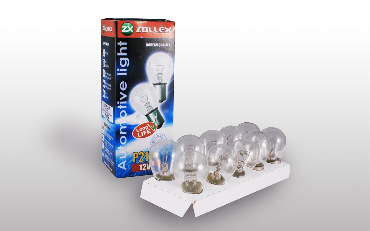 Zollex Лампа автомоб. P21W 12V 8624 (10шт)