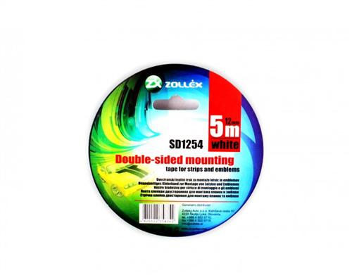Zollex Скотч двосторонній білий 12мм*5м