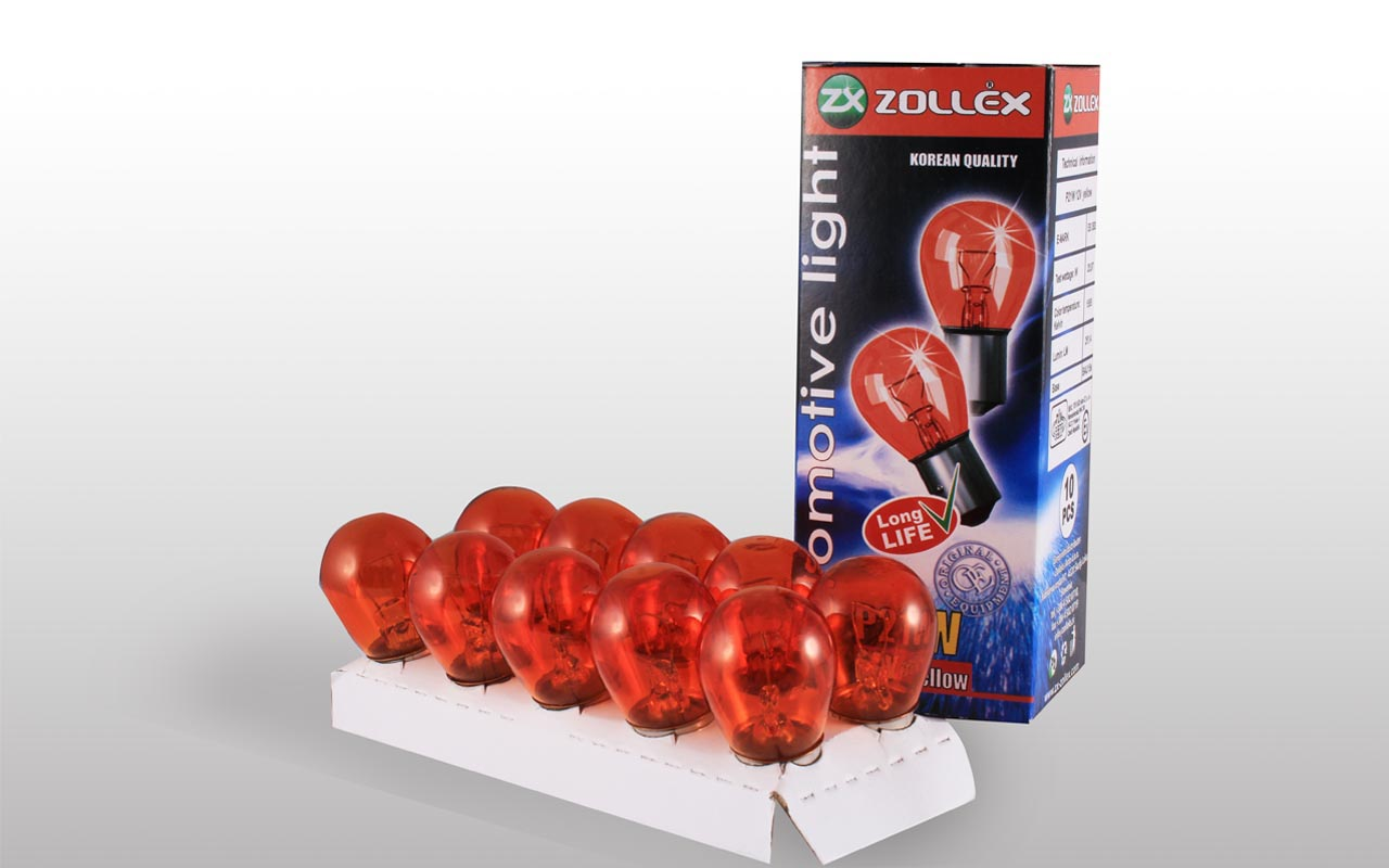 Zollex Лампа автомоб. P21W 12V (желтая) 9124 (10шт)